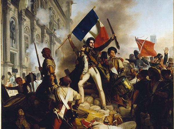 Painting: Battle Outside the Hôtel de Ville, by Jean-Victor Schnetz (Wikimedia Commons)