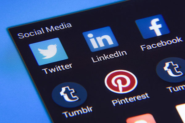 Prominent social media logo icons on a screen